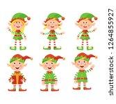 set of christmas elves. vector... | Shutterstock .eps vector #1264855927