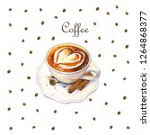 watercolor cup of coffee with... | Shutterstock . vector #1264868377