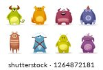set of funny cute monsters.... | Shutterstock .eps vector #1264872181
