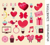 set happy valentine decoration... | Shutterstock .eps vector #1264875541