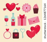 set happy valentine day... | Shutterstock .eps vector #1264877164