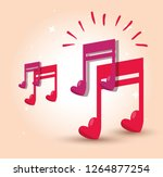 musical note with heart to... | Shutterstock .eps vector #1264877254
