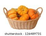 Mini Pumpkin In Bamboo Basket...