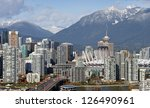 Stock photo vancouver grouse mountains cambie bridge bc place stadium and downtown 126490961