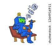 robot smoking cigar cartoon   Shutterstock .eps vector #1264916911