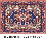 colorful mosaic oriental rug... | Shutterstock . vector #1264958917