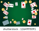 casino playing cards and money... | Shutterstock .eps vector #1264995091