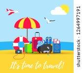 time to travel summer beach... | Shutterstock .eps vector #1264997191