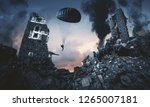 military force with parachute... | Shutterstock . vector #1265007181