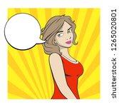 girl pop art  brunette | Shutterstock .eps vector #1265020801