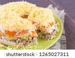 mimosa canned fish salad layers ... | Shutterstock . vector #1265027311