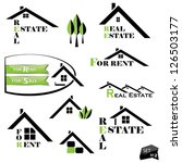Stock vector set of houses icons for real estate business on white background with natural elements 126503177