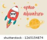 cute funny cat astronaut in... | Shutterstock .eps vector #1265154874