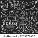 doodle food poster. white and... | Shutterstock .eps vector #1265179687