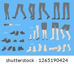 Set Of Human Legs Foots Shoes...