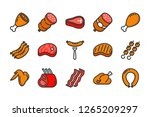 meat and sausage color line... | Shutterstock .eps vector #1265209297