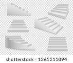 white 3d stairs. vector ladder... | Shutterstock .eps vector #1265211094