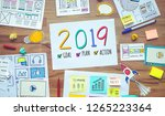 2019 new year resolutions with... | Shutterstock . vector #1265223364