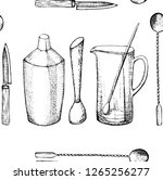 bartender equipment for making... | Shutterstock .eps vector #1265256277