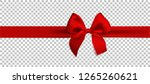 realistic red bow and ribbon... | Shutterstock . vector #1265260621