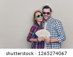 portrait of two attractive... | Shutterstock . vector #1265274067