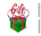 gift lettering with box or... | Shutterstock .eps vector #1265295631