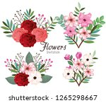 setof beautiful flowers and... | Shutterstock .eps vector #1265298667