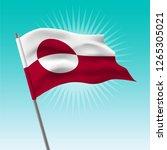 waving greenland flag. vector... | Shutterstock .eps vector #1265305021