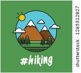 hiking hashtag with mountains... | Shutterstock .eps vector #1265312827