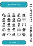 headphone icon set. 25 filled... | Shutterstock .eps vector #1265316451