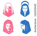 set of simple illustrations of spiritual women