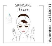 woman using toner  taking care...   Shutterstock .eps vector #1265336461