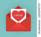 envelope with heart. valentines ... | Shutterstock .eps vector #1265345737