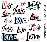 Stock vector romantic lettering set with the word love vector inscriptions collection on white background with 1265355631