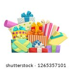 gifts group on white | Shutterstock .eps vector #1265357101