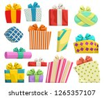 gifts group on white | Shutterstock .eps vector #1265357107