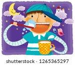 portrait of boy child brushing... | Shutterstock .eps vector #1265365297