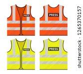 orange  yellow vest. journalist ...   Shutterstock .eps vector #1265370157