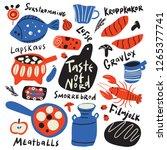 taste of nord. funny hand drawn ... | Shutterstock .eps vector #1265377741