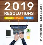 2019 new year resolution... | Shutterstock . vector #1265381857