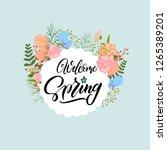 welcome spring. handwritten... | Shutterstock .eps vector #1265389201