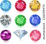 set of colored gems isolated on ... | Shutterstock .eps vector #126539474