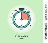 stopwatch  flat design thin... | Shutterstock .eps vector #1265400544