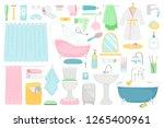 bathroom cartoon elements....   Shutterstock .eps vector #1265400961