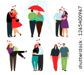casual love couples. happy... | Shutterstock .eps vector #1265400967