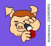 emoticon or emoji of fat pig... | Shutterstock .eps vector #1265403901
