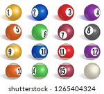 billiard  pool balls collection.... | Shutterstock .eps vector #1265404324