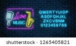 neon signboard of live music... | Shutterstock .eps vector #1265405821