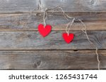 on the wooden background is an... | Shutterstock . vector #1265431744
