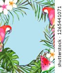 summer tropical card with... | Shutterstock . vector #1265441071